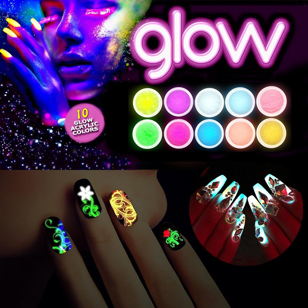 10Jars Luminous Nail Powder Glam and Glits Acrylic Glow in The Dark Fluorescent Acrylic Powder Pre Mix Nail Extension Nail Tips
