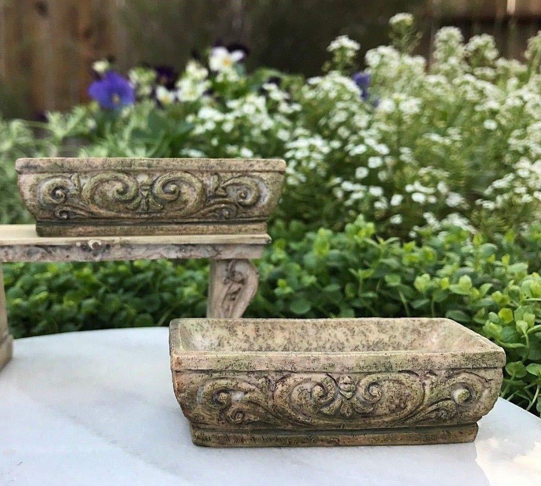 Adjore Miniature Dollhouse Fairy Garden ~ 2 Green Rectangular Acanthus Planter Pots New ~ Best Outdoor Accessory