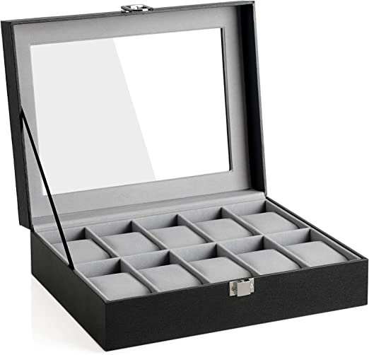 SONGMICS JWB010BK - Caja para Relojes con 10 Compartimentos (Tapa ...
