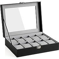SONGMICS Caja para relojes con 10 compartimentos, tapa de cristal, con cojín extraíble, forro interior de terciopelo…