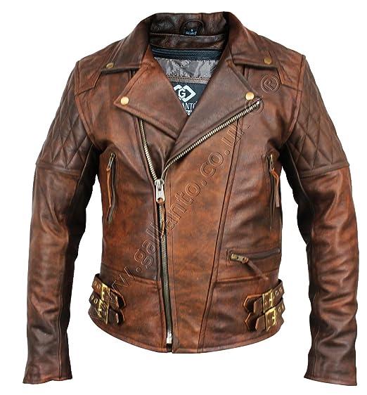 ce71e7c5ba5d2 Gallanto Vintage Brown Classic Diamond Armoured Motorcycle Biker Leather  Jacket (S)  Amazon.co.uk  Clothing
