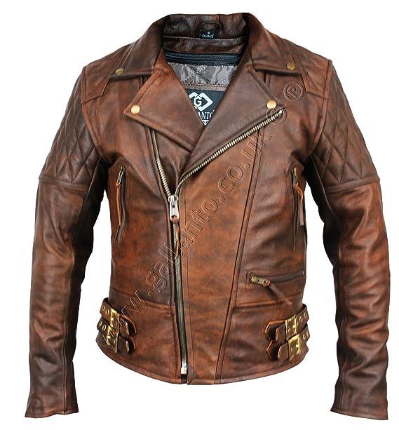 Chaqueta de cuero para hombre, de Gallanto, vintage, color marrón, diseño clásico de rombos, ideal para motociclista: Amazon.es: Ropa y accesorios
