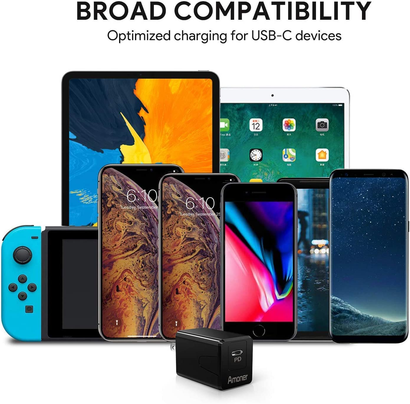 Ipad pro Wall Charger Pixel 3//2//XL Galaxy S10//S9//Plus and More 18W Type C Wall Charger USB C Charger USB-C Charger Compatible with iPhone XS//MAS//XR//8//Plus