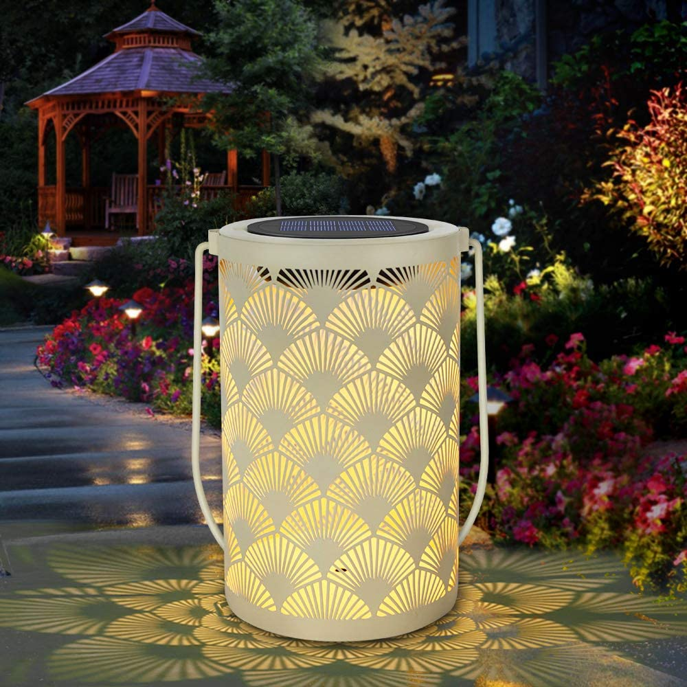 Solar Lantern Light for Decor - Deaunbr Outdoor Tabletop Lanterns Waterproof Lamp Hanging Garden Lights with Handle Decorations for Patio, Backyard, Pathway, Yard Tree - Cream Color (1 Pack)