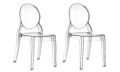 Silla transparente de Plexiglás acrílico, modelo Elizabeth, transparentes, set de 4 sillas, poliéster, transparente, 2 Stuhle