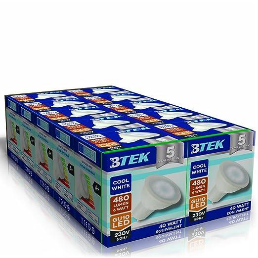 107 opinioni per BTEK® 10PC GU10 6W LED Luce Bianca Fredda AC 230V 50 Hz 480LM 40W luce del punto