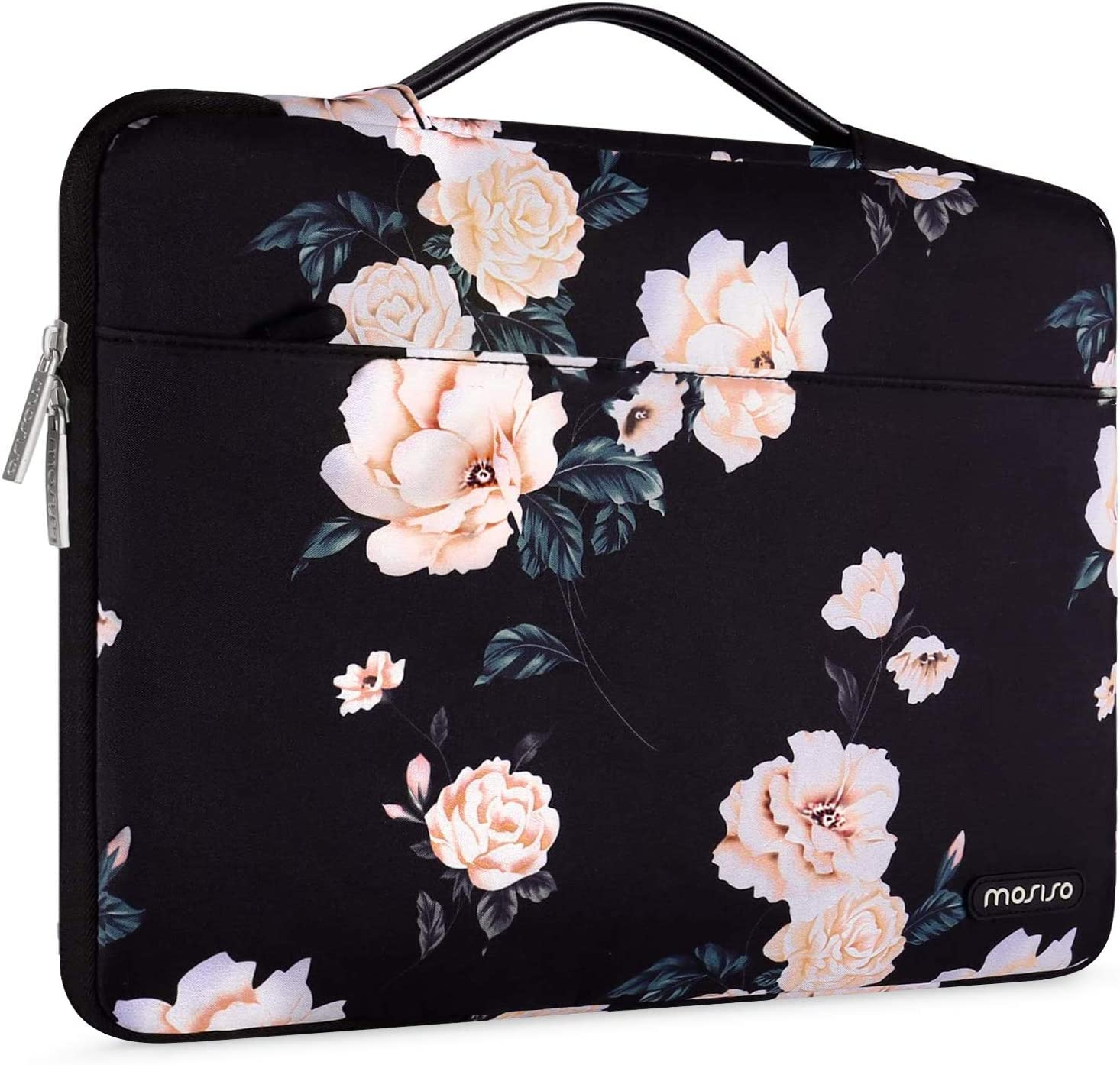 MOSISO Laptop Sleeve 360 Protective Case Bag Compatible with 13-13.3 inch MacBook Pro, MacBook Air, Notebook, Polyester Pattern Shockproof Handbag with Trolley Belt, Apricot Peony