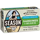 Season Skinless & Boneless Sardines in Oil, 4.375-Ounce Tins (Pack of 12)
