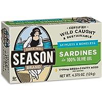 Season Skinless & Boneless Sardines in Oil, 4.375-Ounce Tins (Pack of 12)