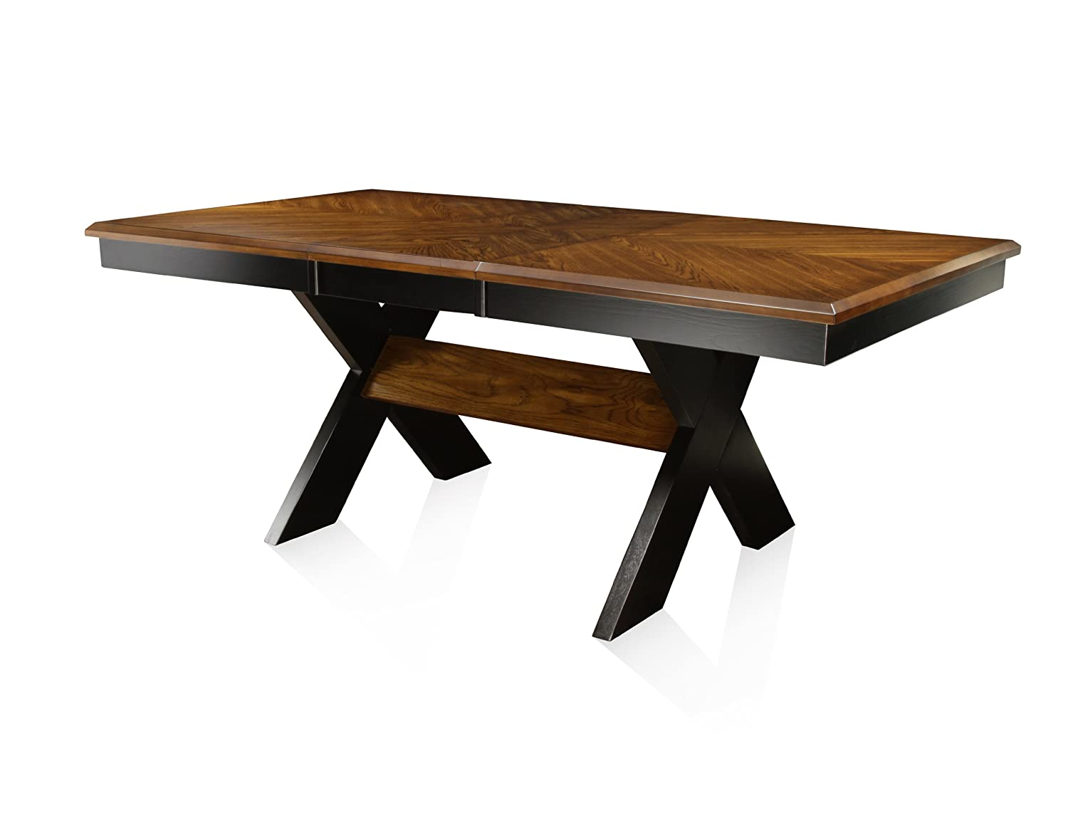 fbed97274212e Amazon.com - Furniture of America Harvest Rectangular Dining Table with  18-Inch Leaf Extension