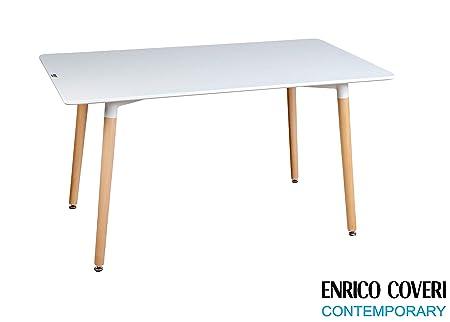 Enrico Coveri Contemporary Tavolo Moderno Rettangolare in Legno Bianco,  Dimensioni 140 x 80 x 75 Cm
