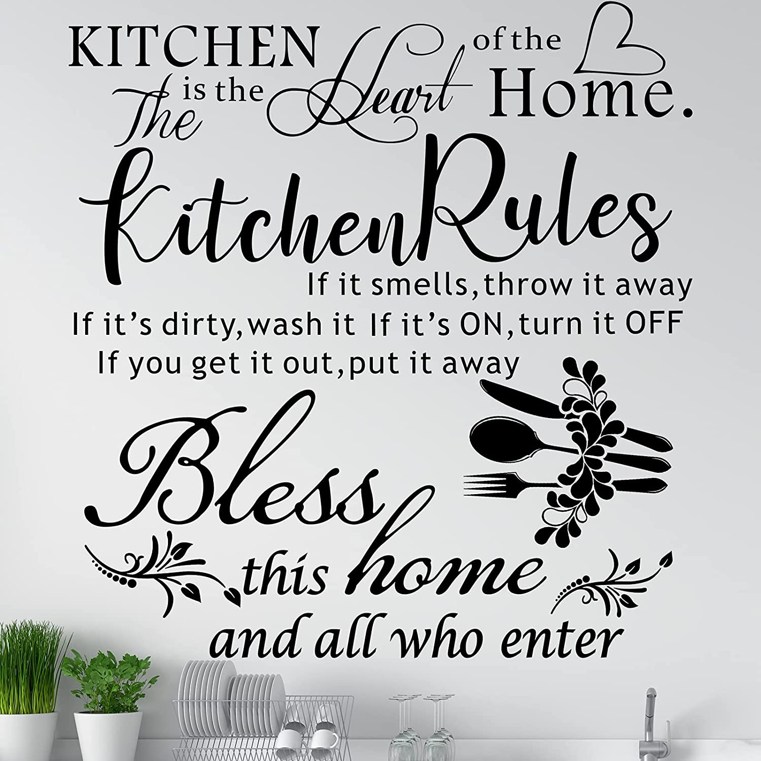 3 Pieces Kitchen Rules Wall Decals Art Mural Home Decor Sticker Vinyl Wall Quotes Saying Home Decor Wall Sticker Bless The Food Before Us Positive Kitchen Wall Decal for Dining Room Family, Black
