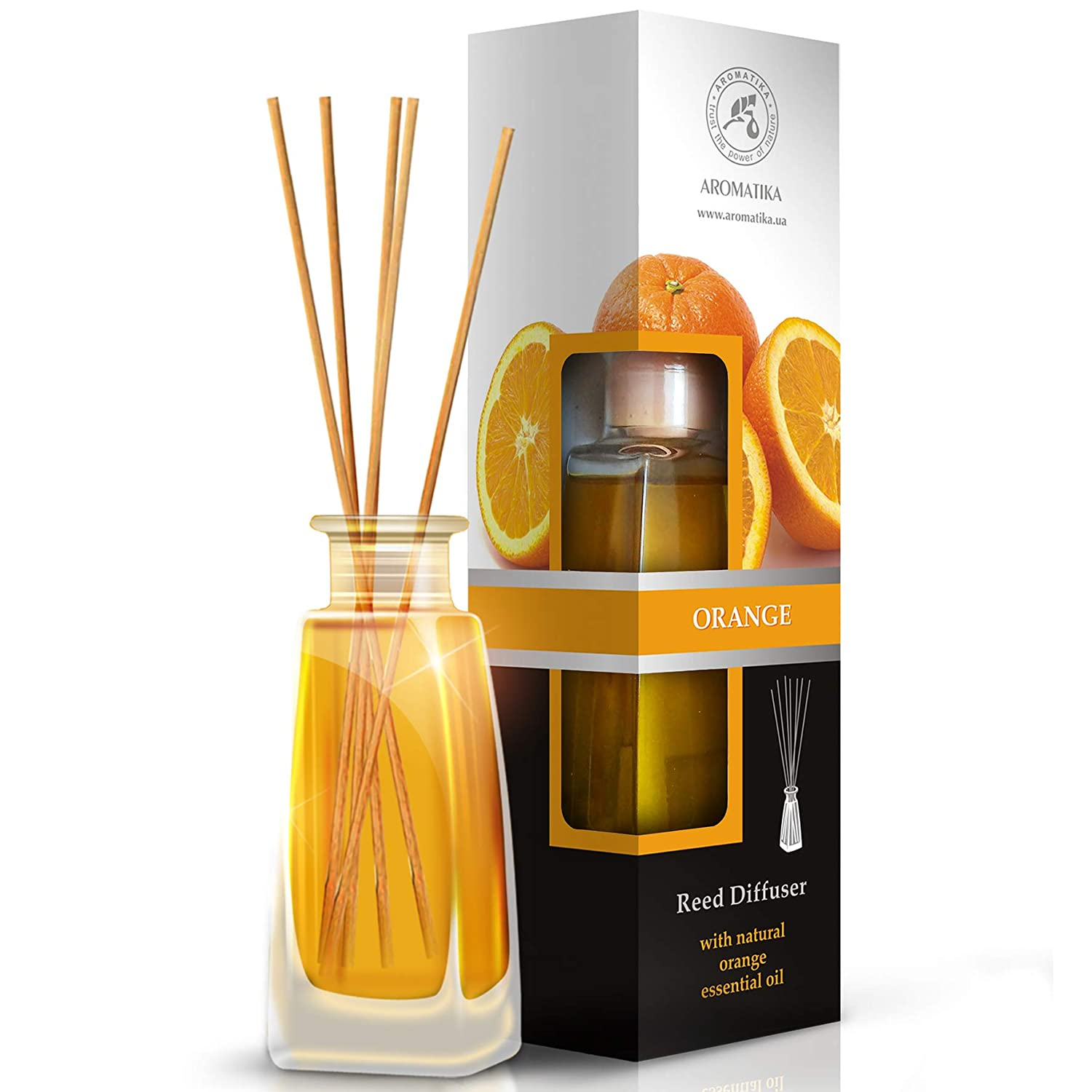 Orange Reed Diffuser w/ Natural Essential Orange Oil 100ml - Intensive - Fresh & Long Lasting Fragrance - Scented Reed Diffuser - 0% Alcohol - Diffuser Gift Set w/ 8 Bamboo Sticks is the Best for Aromatherapy - Spa - Home - Kitchen - Bath - Office - F