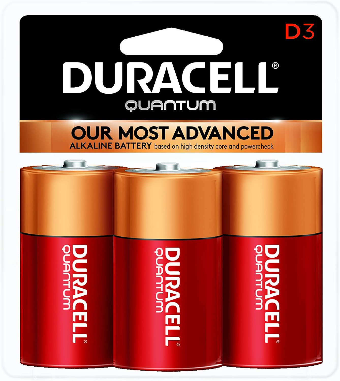 Duracell - Quantum D Alkaline Batteries - long lasting, all-purpose D battery for household and business - 3 count