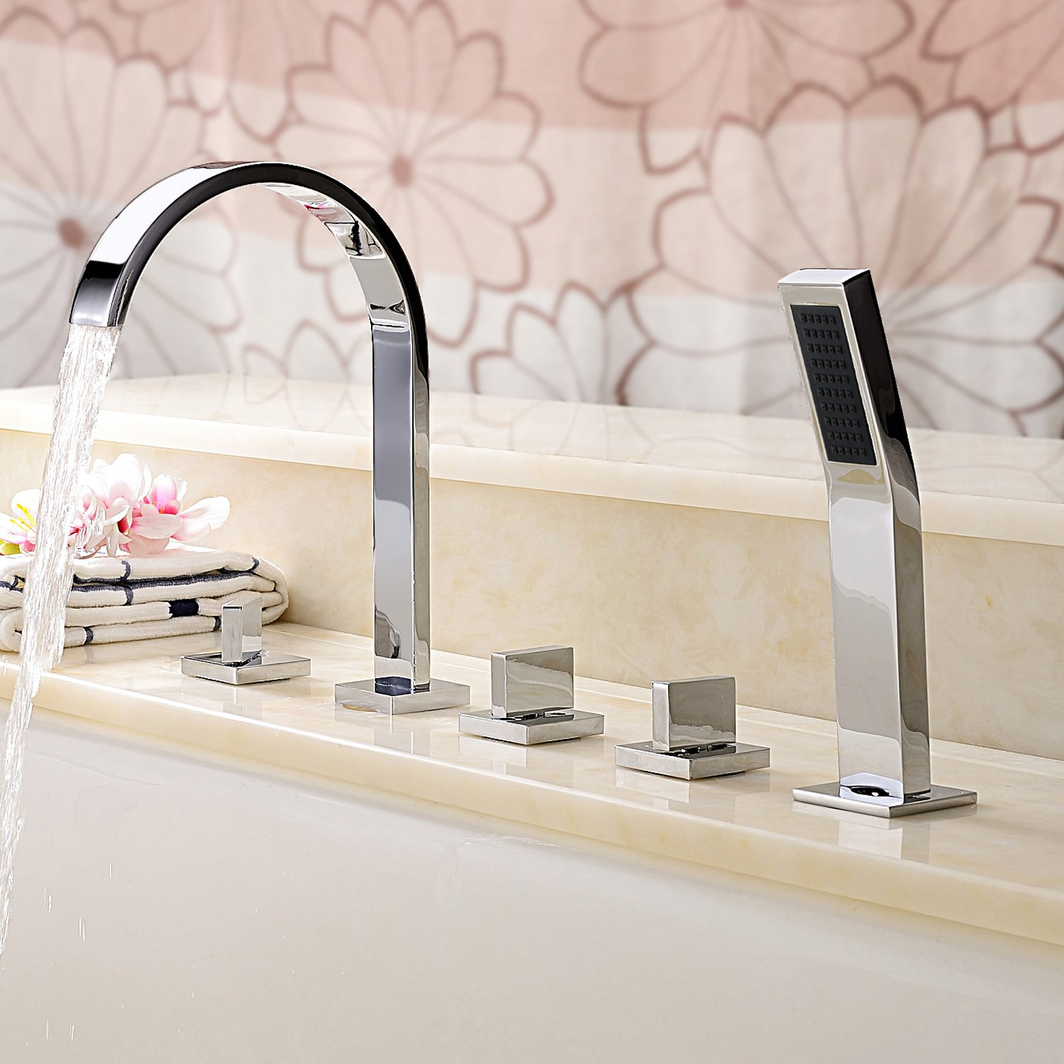 Bathroom Deck Mount Bath Tub Three Handles Widespread Waterfall Bathtub  Faucets With Handheld Shower Sets Tall Curve Long Spout Bar Faucets Square  Hand ...