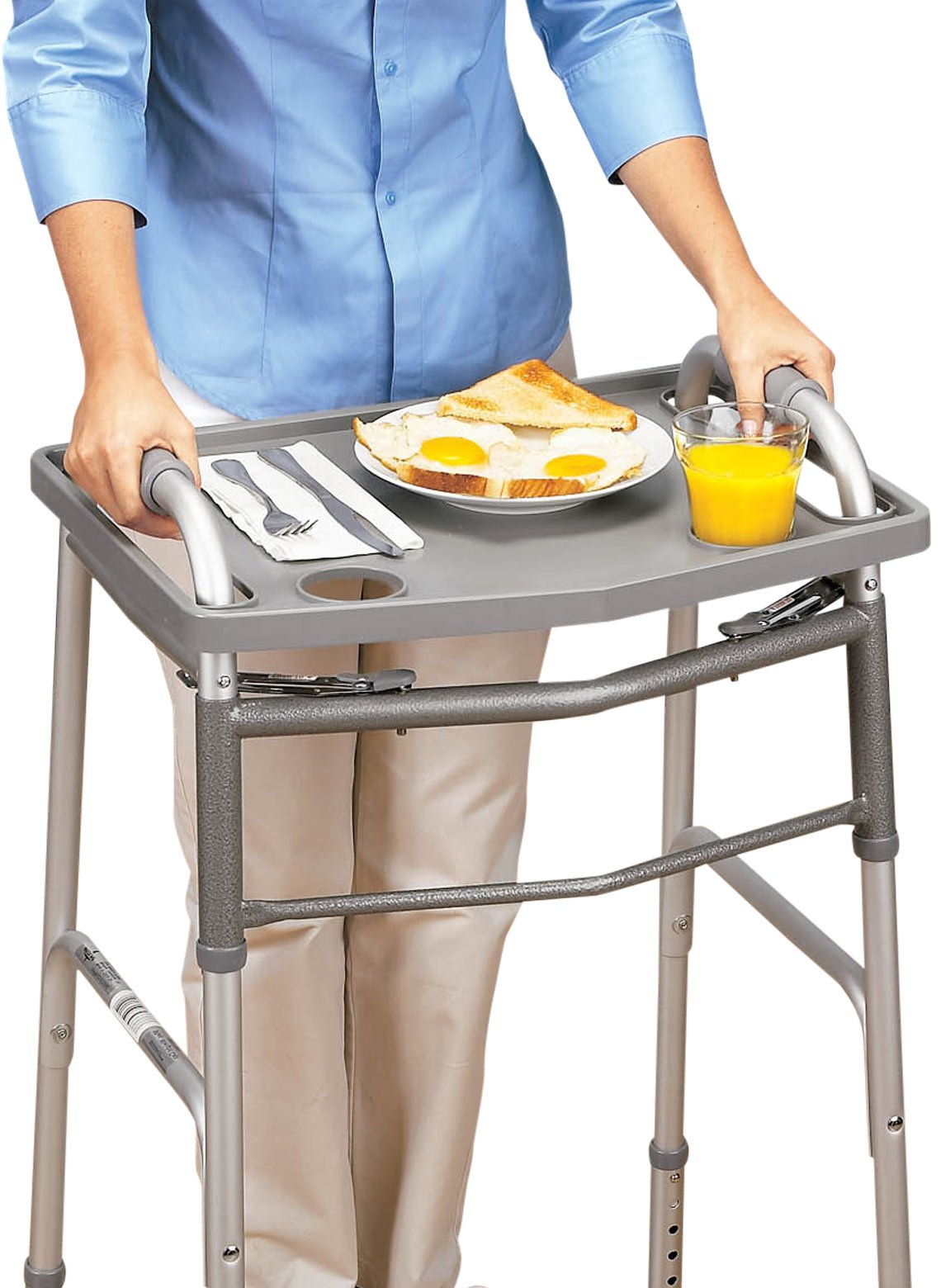 DMI Walker Tray With Cup Holders, Walker Tray For Folding Walkers, Gray