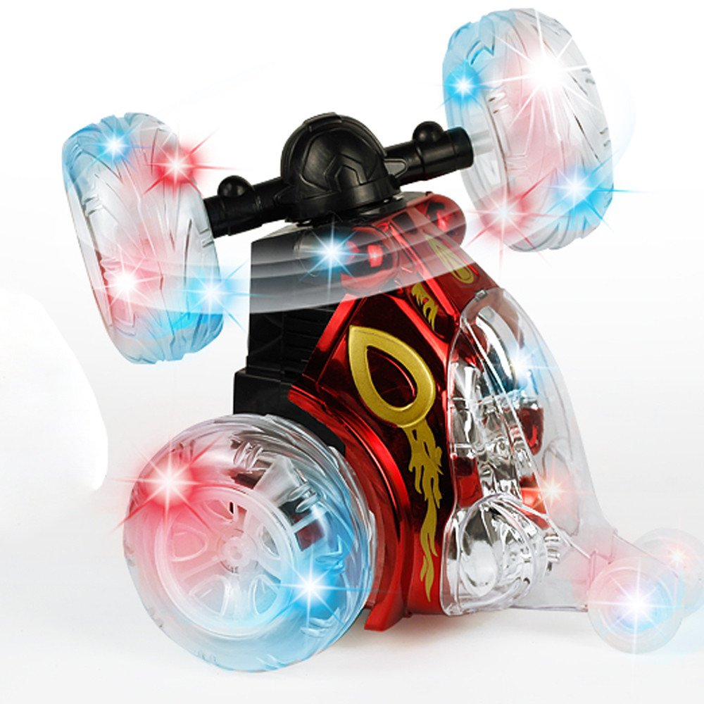 360 Spinning And Flips Remote Control Truck, Rc Rolling Stunt Car With Led Lights And Music (Red)