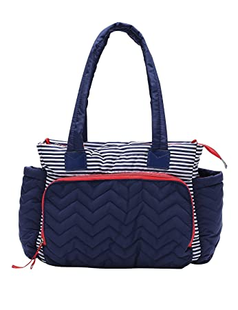 f9d2bfb8f4d4d Xnbda Stripe Quilted Diaper Bag - Soft Lightweight Washable Cotton Tote  Bags for Mom Travel with Baby...