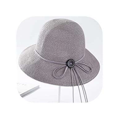 c627288ee88f5 Women Sun Hat Summer Straw Caps Fashion Lady Big Fedoras Hats with Button  Paper 5 Colors Adult Casual Caps
