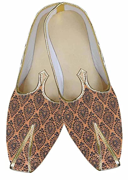 Mens Brown Brocade Shoes Party Wear MJ0054