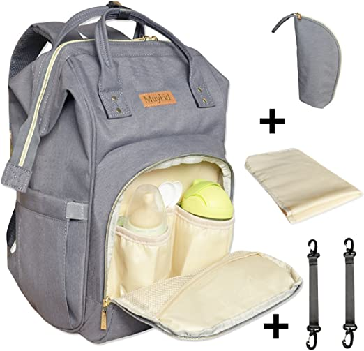 Large Capacity Diaper Bag Backpack Gray Insulated Pockets Multi-Function Waterproof Travel Backpack Baby Nappy Bags with Changing Pad for Mom and Dad Durable and Stylish