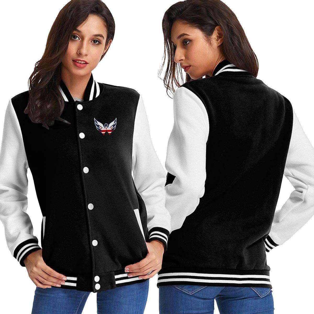 Black Women Basketballsadw 2016HockeyWashingtonCapitalFlag Baseball Uniform Jacket