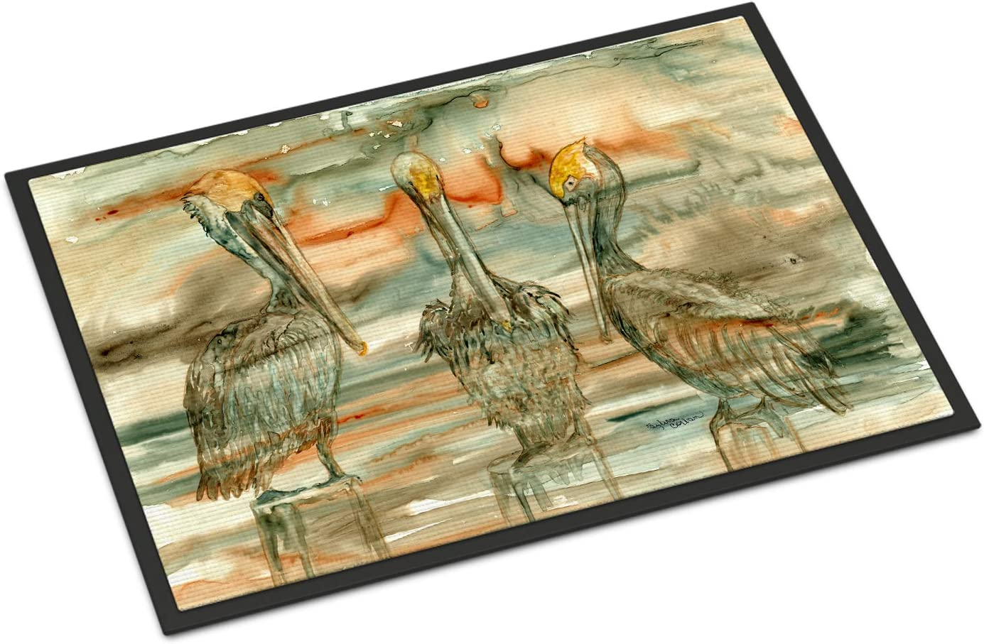 Caroline s Treasures 8980JMAT Pelicans on Their Perch Abstract Indoor or Outdoor Mat 24×36, 24H X 36W, Multicolor