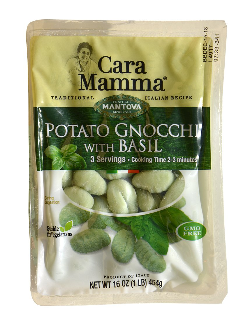 Mantova Cara Mamma Basil Potato Gnocchi (1 lb. Packs - Pack of 6) Imported from Italy by Mantova