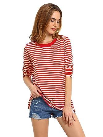 789c917b4761 Romwe Women s Basic Long Sleeve Round Neck Loose Casual Stripe T-Shirt Top  Tee Red