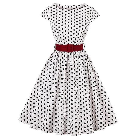 Clearance vestido vintage de lunares para mujer, estilo ...
