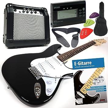 Fender Squier Bullet Strat guitarra eléctrica con 30 W Amplificador y Overdrive, libro + CD y DVD, Original Seiko Afinador con aguja de pantalla, ...