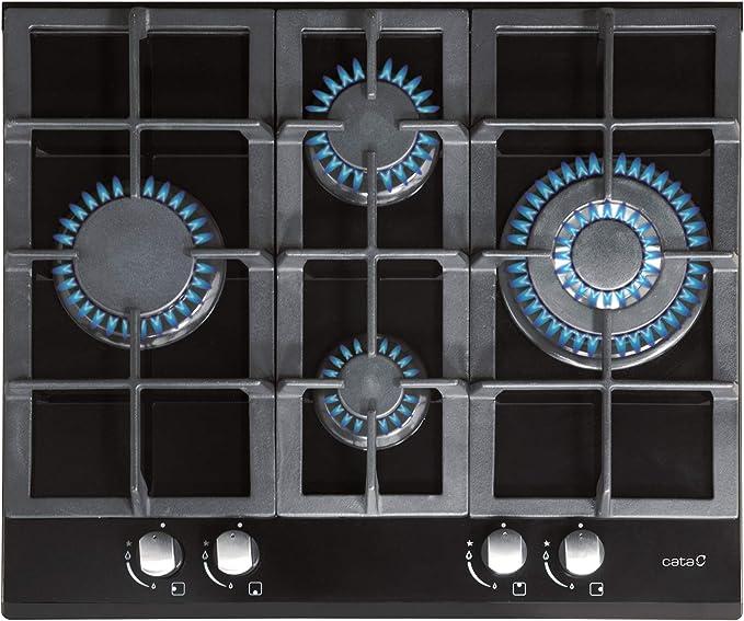 CATA | Modelo LCI 6031 | Encimeras de gas butano 4 Fuegos | Cocina de gas | Ancho de 60 cm | Parrillas / Quemadores hierro fundido | potencia 9,2 kW