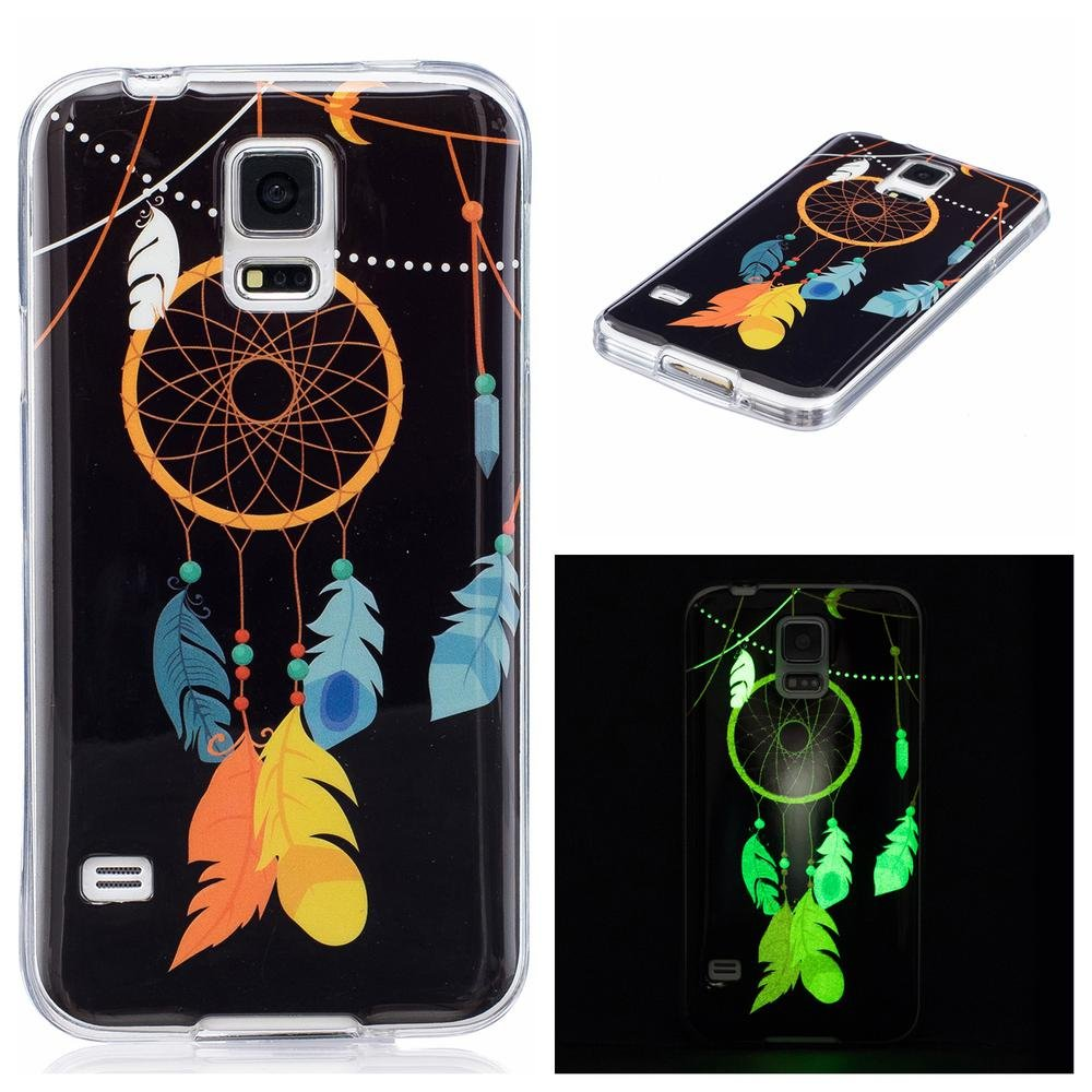 Galaxy S5 Case, Firefish Luminous Effect TPU Soft Case Ultra Thin Anti-bump Shell Glow In The Dark Fluorescent Cover for Samsung Galaxy S5-Feather Galaxy S6 Case