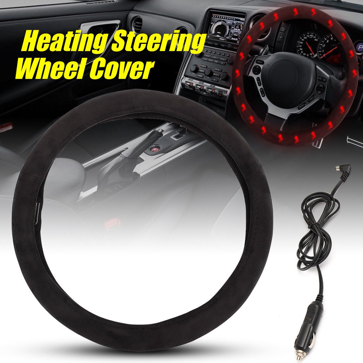 Black Steering Wheel Protector Cover Huole1 Goodream Car Heated Steering Wheel Cover Keep Comfortable and Warm While Driving