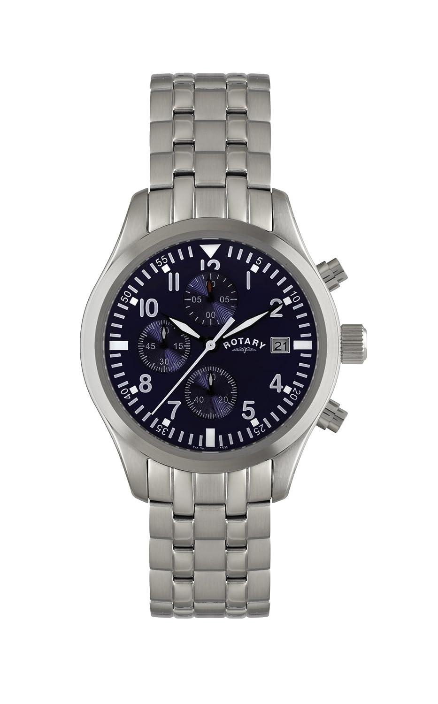 Rotary GB02680/05 - Reloj analógico de cuarzo para hombre, correa de acero inoxidable color plateado (cronómetro)