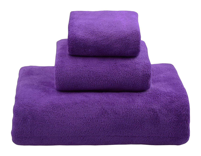 "HOPESHINE Microfiber Extra Large Bath Towel Set 3 Piece Bath Towel Sheet 32""X60""& Hand Towel 16""X32""& Wash Cloth 16""X16"" (Light Blue) HS"