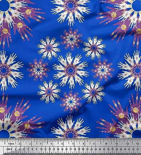 Soimoi Azul batista de algodon Tela diseño de la mano mandala tela estampada impresa por metro 42 Pulgadas de ancho: Amazon.es: Hogar