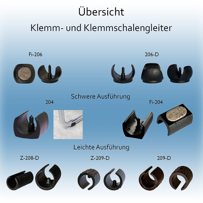 Klemmschalengleiter lang Ø 24-26 mm schwarz Zapfen Freischwinger Stuhl Garten