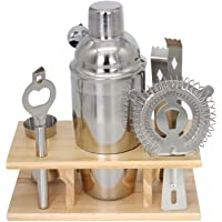 Premium Stainless Steel Cocktail Shaker Bartender Tool Set with Wooden Storage Stand - Cocktail Shaker, Cocktail Strainer, Double Jigger, Bar Spoon, Bottle Opener, Ice Tongs - Ships from AU