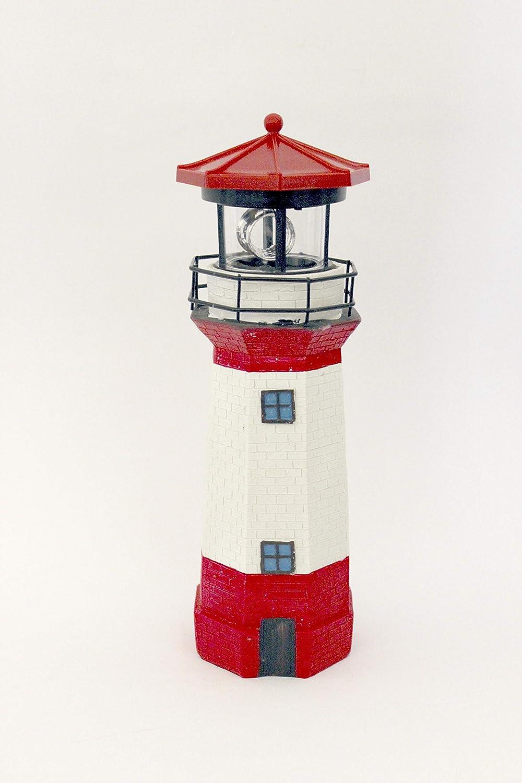 Leuchtturm Solar Roter Sand 360°Drehung Höhe ca 50cm  Akku NEU