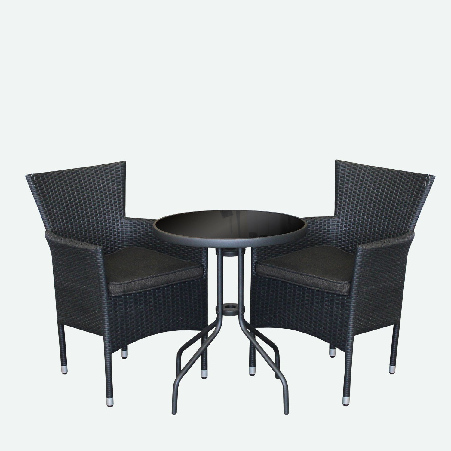 3tlg bistrogarnitur bistro set balkonm bel set bistrotisch glastisch poly rattansessel. Black Bedroom Furniture Sets. Home Design Ideas