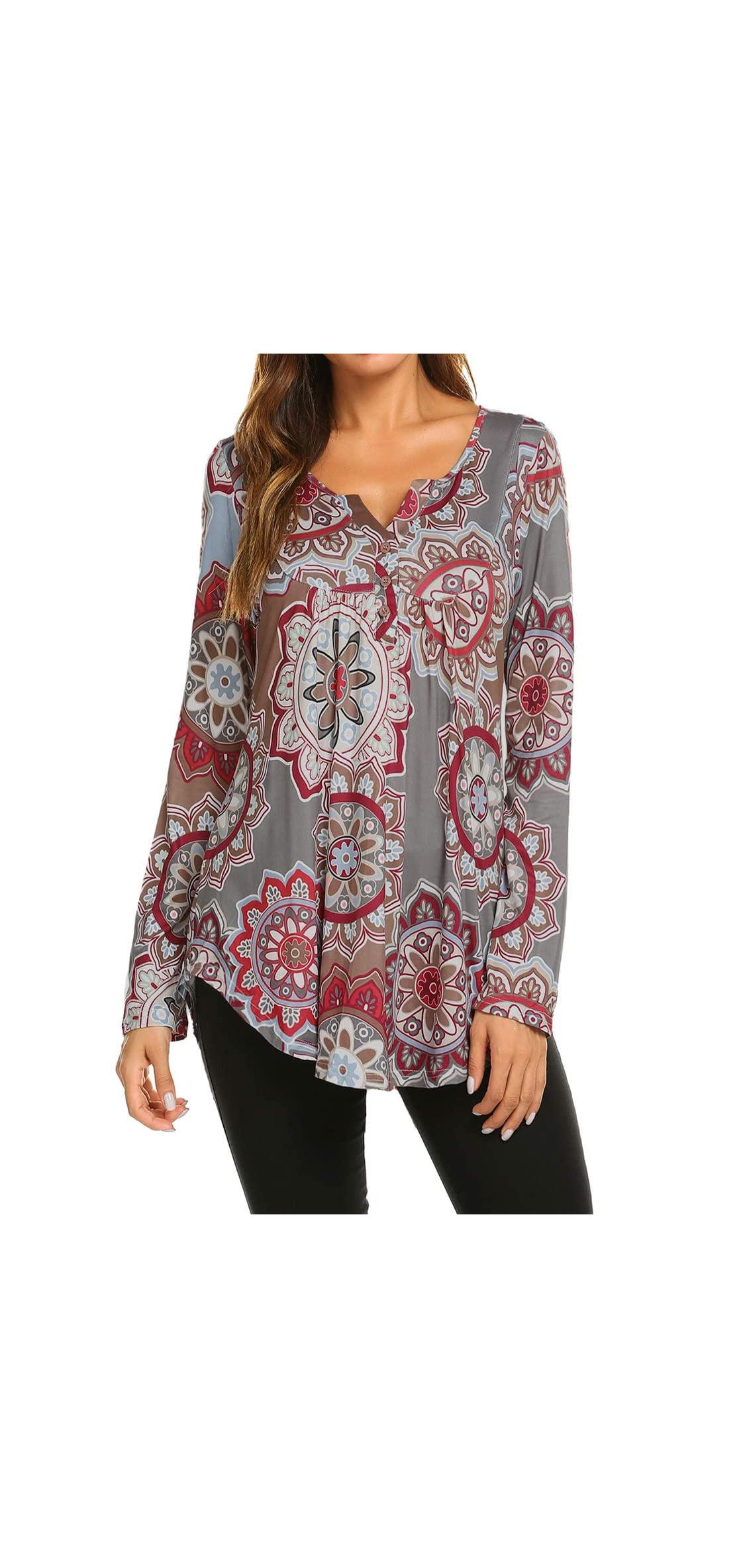 Women's Paisley Printed Long Sleeve Henley V Neck Pleated Casual
