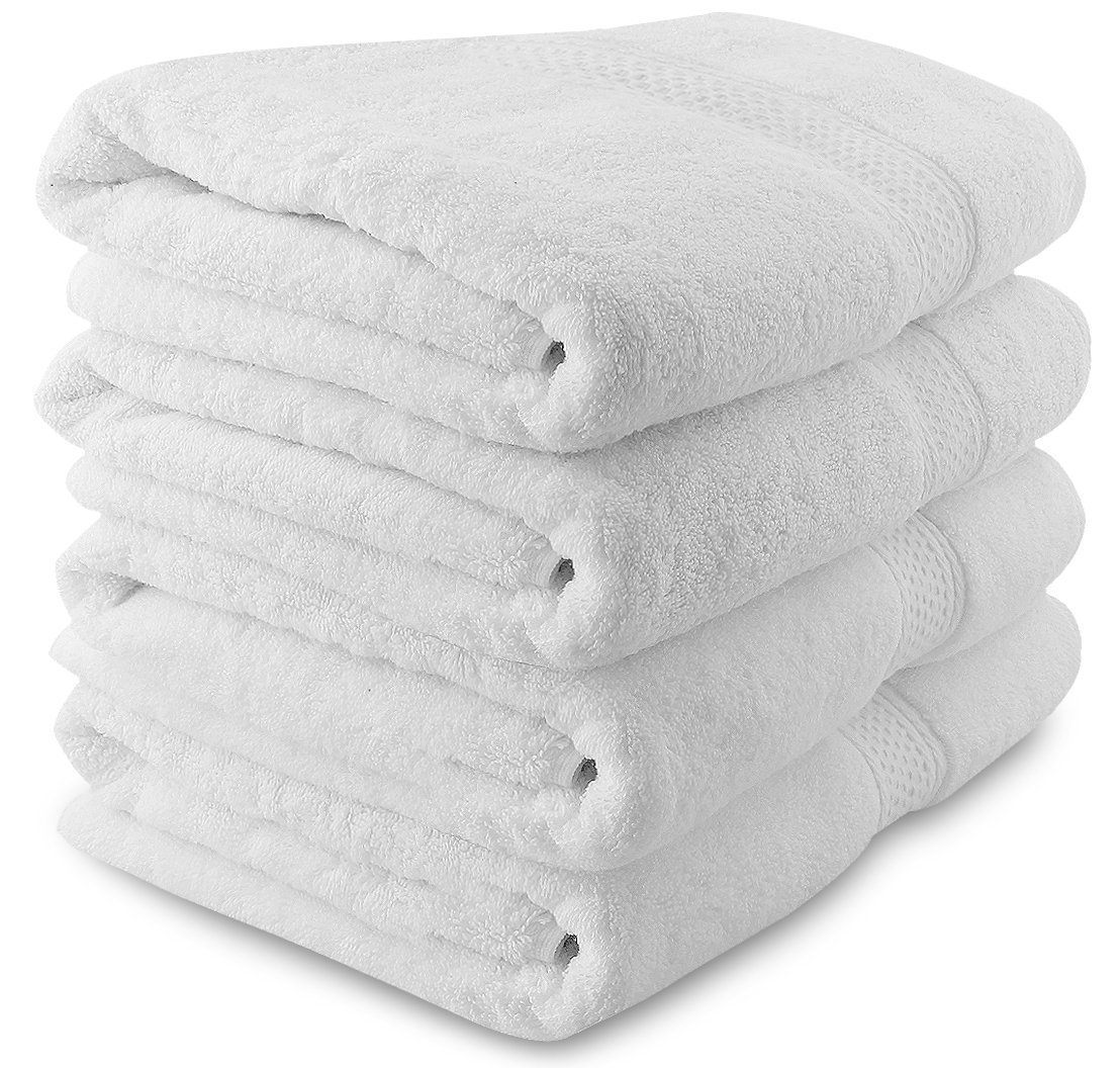Utopia Towels Premium White Bath towels (4 Pack, 27x54 Inches)- Luxury Hotel and Spa White Towel Set - Soft and Highly Absorbent Towels
