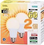 OHM LED電球 60形相当 口金直径26mm 電球色 広配光 密閉器具対応 2個入 [品番]06-0617 LDA7L-G AH52 2P
