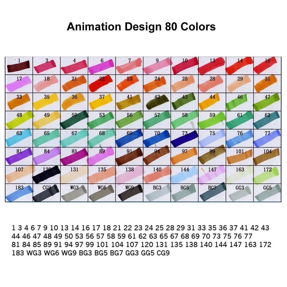 Rotulador multicolor (Animado, Arte diseño Marcadores Bosquejo con Bolsa (Animado, multicolor 60 colores) ff813d