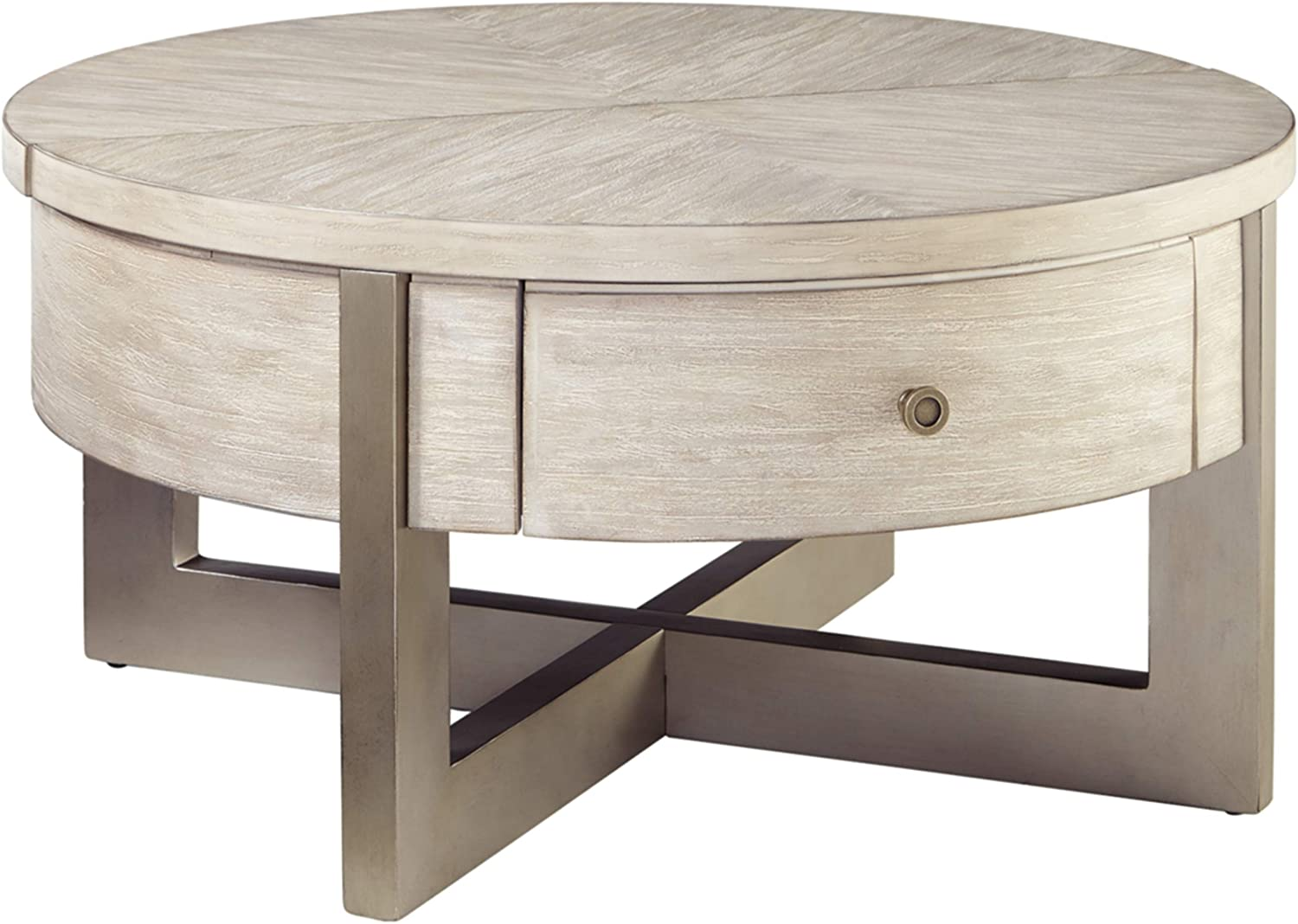 Signature Design by Ashley Urlander Round Lift Top Cocktail Table Whitewash