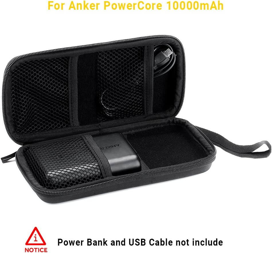 EasyAcc Power Bank Case for Anker PowerCore 10000mAh External Battery Pack Case for 10000mAh 1500mAh Portable Charger Case for Ultra-Compact High-Speed Power Bank Bag Hard EVA Shockproof Carring Case