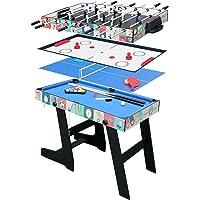 hj HLC® Mesa Multijuegos Plegable 4 en 1 Mesa de Billar,Ping Pong,Hockey y Futbolín (109 x 60,5 x 82 cm) Buen Regalo para Las Fiestas Juegos Entre Familia