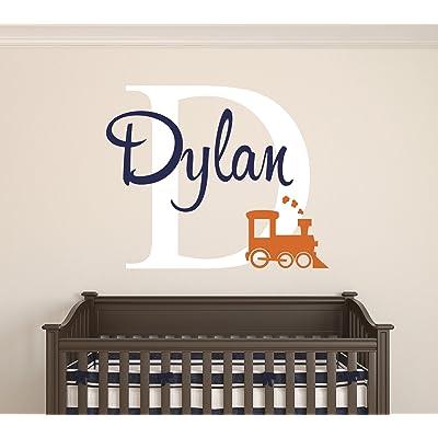 Custom Train Name Wall Decal - Baby Room Decor - Nursery Wall Decals - Train Smoke Art Vinyl Sticker: Baby