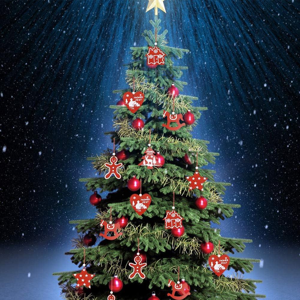 CHEPL Ciondolo in Legno di Natale 30 Pezzi Natalizi Addobbi Albero Ornamento in Legno Decorativi per Albero di Natale Fai da Te